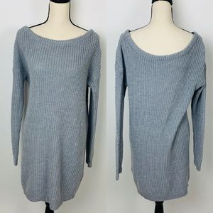 Missguided Gray Cable Knit Sweater Dress M/L